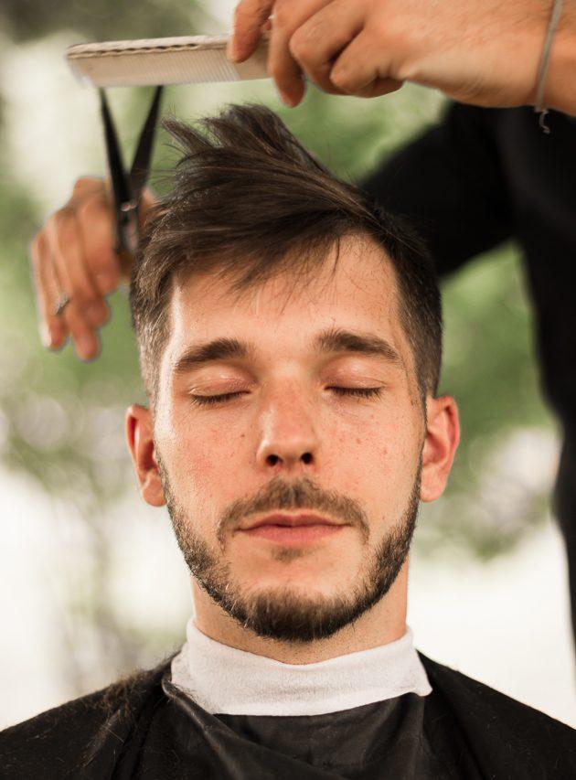 Coupe homme réalisé par le coiffeur Benoit Pillon lors du mariage de Romain & Jérémie